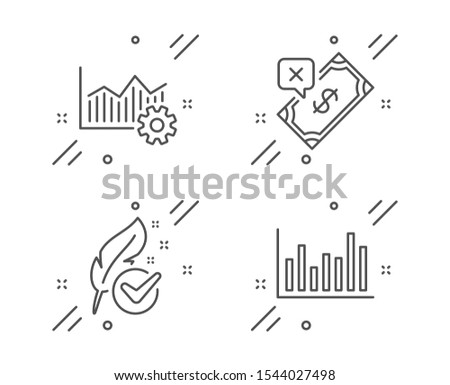 Operational excellence, Rejected payment and Hypoallergenic tested line icons set. Bar diagram sign. Corporate business, Bank transfer, Feather. Statistics infochart. Business set. Vector