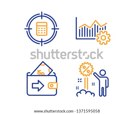Operational excellence, Wallet and Calculator target icons simple set. Discount sign. Corporate business, Money payment, Audit. Sale shopping. Finance set. Linear operational excellence icon. Vector