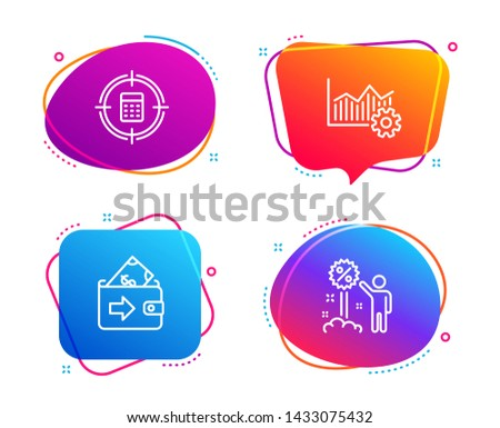 Operational excellence, Wallet and Calculator target icons simple set. Discount sign. Corporate business, Money payment, Audit. Sale shopping. Finance set. Speech bubble operational excellence icon