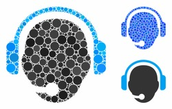Operator head mosaic of spheric dots in different sizes and color tints, based on operator head icon. Vector round dots are grouped into blue mosaic.