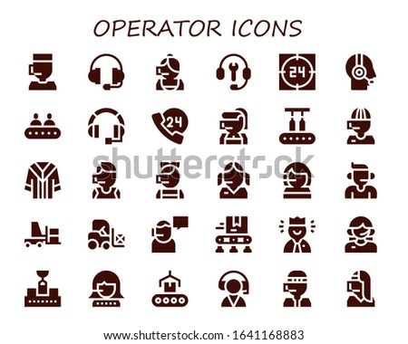 operator icon set. 30 filled operator icons.  Simple modern icons such as: Call center, Support, Customer support, Customer service, Conveyor, Headset, 24h, Uniform, Forklift
