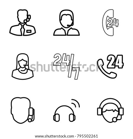 Operator icons. set of 9 editable outline operator icons such as 24 hours support, support, operator #795502261