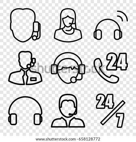 Operator icons set. set of 9 operator outline icons such as customer support, headset, operator #658128772