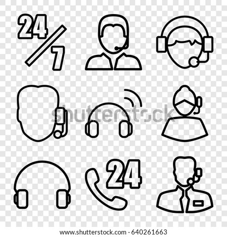 Operator icons set. set of 9 operator outline icons such as headset, operator, support, help support #640261663