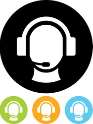 Operator in headset - Vector icon isolated