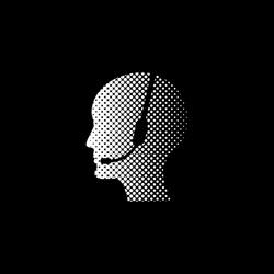 Operator in headset - white vector icon ; halftone illustration