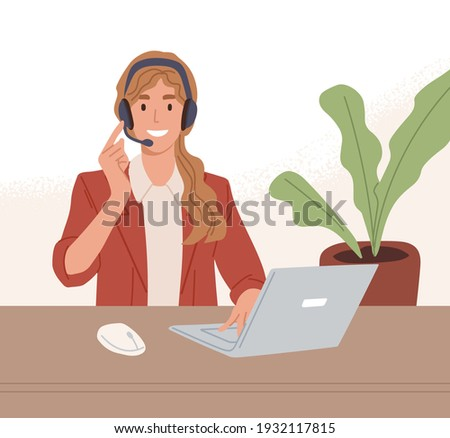 Operator of call center working online with laptop and headset. Manager of customer support service consulting clients through internet. Colored flat vector illustration of digital helpdesk Stock fotó ©