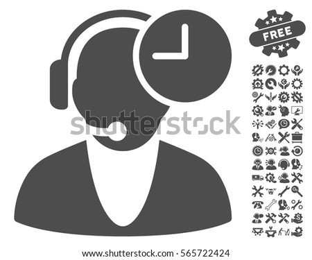 Operator Time pictograph with bonus setup tools icon set. Vector illustration style is flat iconic gray symbols on white background. #565722424