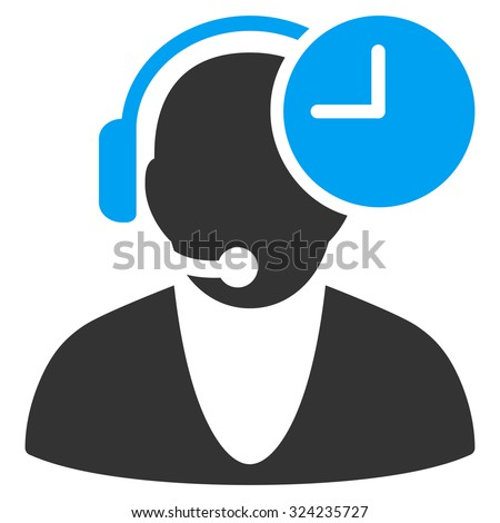 Operator Time vector icon. Style is bicolor flat symbol, blue and gray colors, rounded angles, white background. #324235727