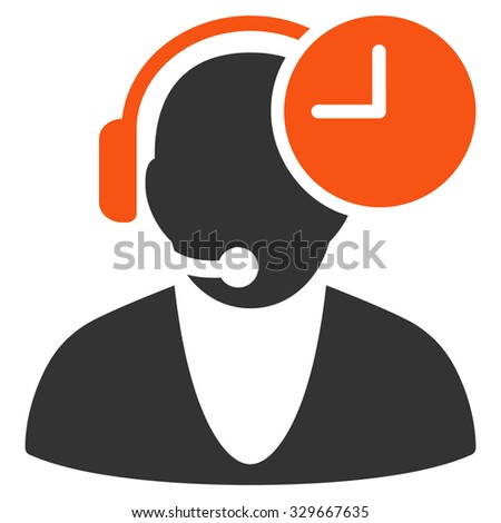 Operator Time vector icon. Style is bicolor flat symbol, orange and gray colors, rounded angles, white background. #329667635
