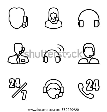 operator vector icons. Set of 9 operator outline icons such as customer support, headset, operator #580220920