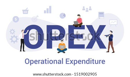 opex operational expenditure concept with big word or text and team people with modern flat style - vector