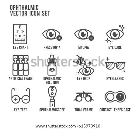 Ophthalmic Eye Care Vector Icon Set