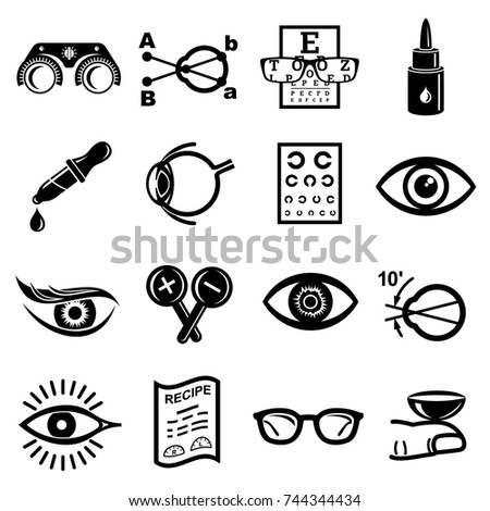 Ophthalmologist icons set. Simple illustration of 16 ophthalmologist vector icons for web