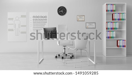 Ophthalmologist, ophthalmology clinic doctor office room interior with white chairs near work desk, binders on rack shelves, diplomas, medical scheme, eye chart on wall realistic vector illustration