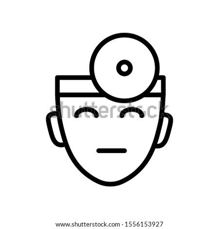 Ophthalmologist with head mirror isolated line icon vector. Vision doctor or optometrist face, eye health and ophthalmology outline symbol. Eyesight treatment specialist, hospital medical staff