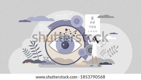 Ophthalmology as eye and vision healthcare occupation tiny person concept. Medical sight checkup, diagnosis and look treatment vector illustration. Optical lens examination and retina correction scene Сток-фото ©
