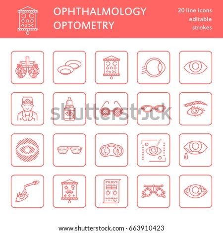 Ophthalmology, eyes health care line icons. Optometry equipment, contact lenses, glasses, blindness.