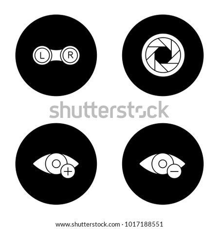 Ophthalmology glyph icons set. Contact lenses box, diaphragm, hyperopia, myopia. Vector white silhouettes illustrations in black circles