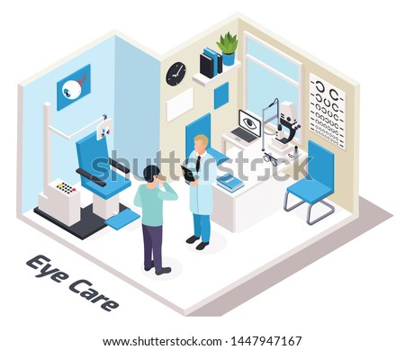 Ophthalmology isometric composition with view of eye care specialists office with human characters furniture and text vector illustration