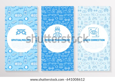 Ophthalmology, medical brochure template, flyer. Eye health care thin line icons laser vision correction, eyesight check, doctor. Cute illustration for hospital poster. Vector trifold blue background.
