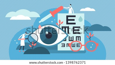 Ophthalmology vector illustration. Flat tiny eyes health persons concept. Abstract lens view examination checkup. Patient myopia and foresight focus correction treatment with pills drops and glasses.