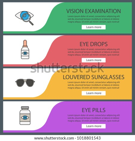 Ophthalmology web banner templates set. Website color menu items. Vision examination, eye drops, louvered sunglasses, pills bottle. Vector headers design concepts