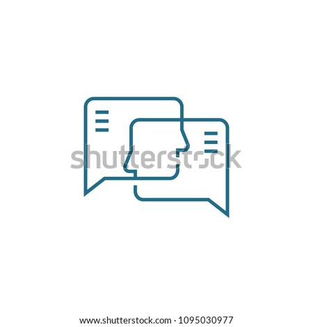 Opinion exchange linear icon concept. Opinion exchange line vector sign, symbol, illustration.