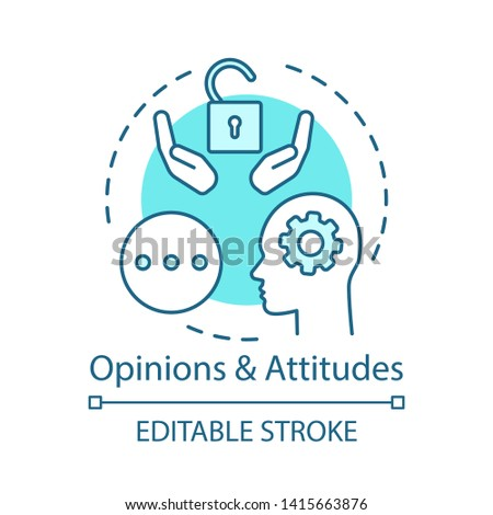 Opinions & attitudes turquoise concept icon. Positive thinking, solutions search. Mind, thoughts idea thin line illustration. Happy customer vector isolated outline drawing. Editable stroke