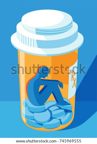 opioid and prescription drug addiction concept - a person trapped inside a pill bottle