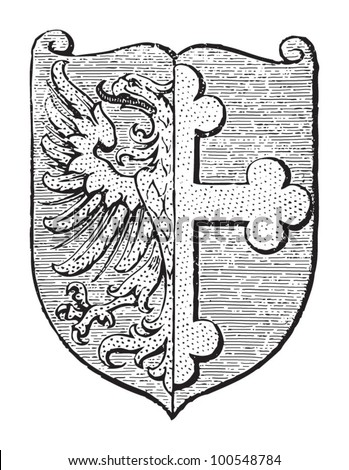 Opole coat of arms (city in Poland) / vintage illustration from Meyers Konversations-Lexikon 1897