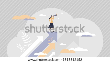 Opportunity as vision for chances and seize the target tiny persons concept. Looking for future plans for success using motivational inspiration as symbolic reach upwards scene vector illustration.
