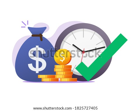 Opportunity right time moment to make or earn money vector concept, correct chance to gain financial invest profit flat illustration, earning timer clock with check mark tick as good time become rich