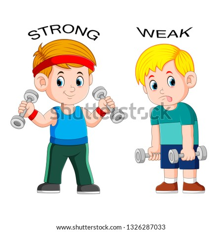 Opposite adjective with strong and weak