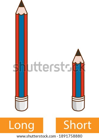 Opposite adjective words with long pencil and short pencil on white background illustration Stockfoto ©