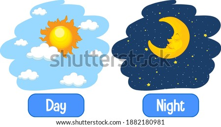 Opposite adjectives words with day and night illustration Stockfoto ©