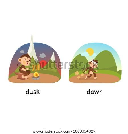 opposite dusk and dawn vector