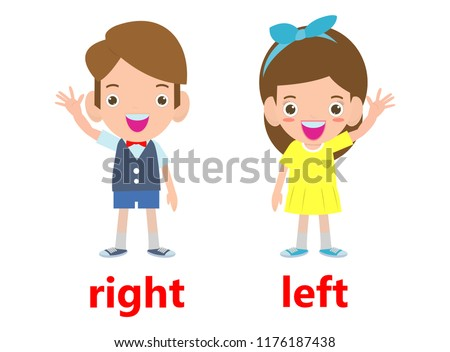 Opposite left and right, Girl on the left and boy on the right on white background illustration vector