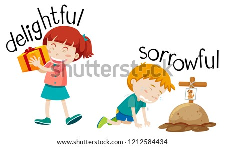Opposite word of delighyful and sorrowful illustration