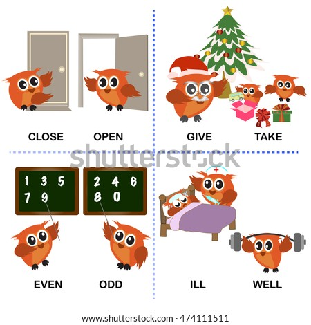 Opposite Word Text And Background For Preschool Close Open Give Take Even Odd Ill Well