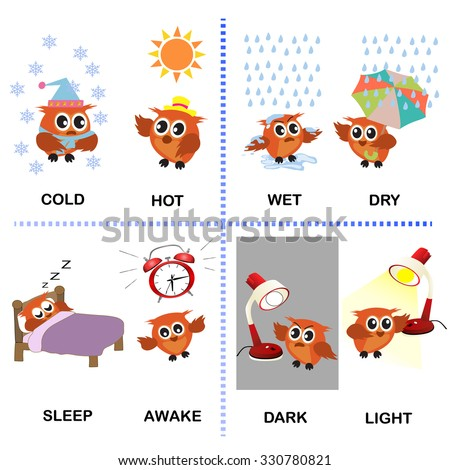 Opposite Word Vector Background For Preschool Cold Hot Wet Dry Sleep Awake Dark Light
