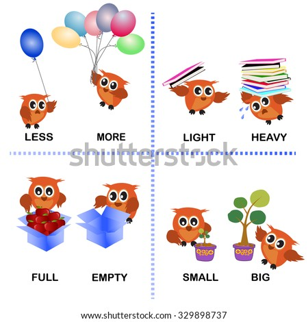 Opposite Word Vector Background For Preschool Less More Light Heavy Full Empty Small Big