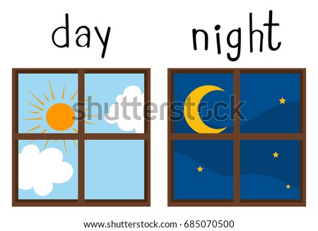 Opposite wordcard for day and night illustration