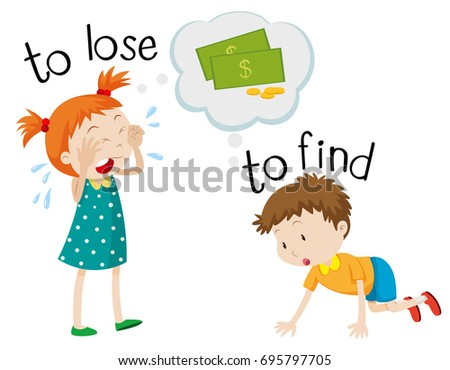 Opposite wordcard for lose and find illustration