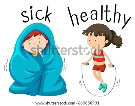 Opposite wordcard for word sick and healthy illustration