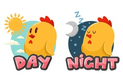 Opposite words Day and Night. Vector cartoon illustration with funny chicken, sun and moon isolated on white background.
