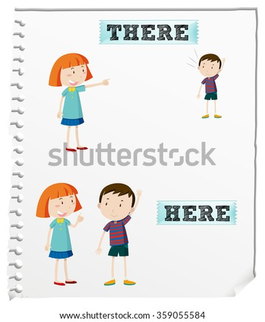 Number Names Worksheets list of opposite words with pictures : Opposite Words Here And There Illustration - 359055584 : Shutterstock