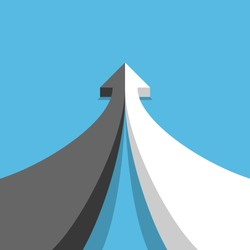 Opposites, development, partnership, and merger concept. Arrow of two black and white parts joining on blue. Perspective view. Flat design. Vector illustration, no transparency, no gradients