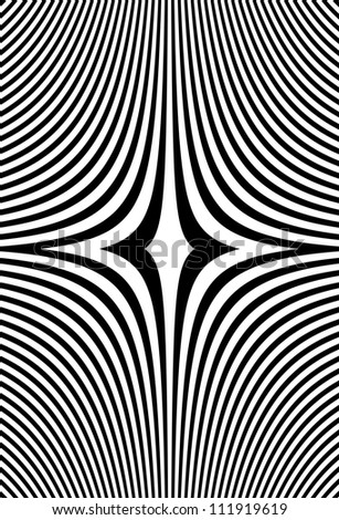 Optical art - abstract illusion symmetric vector - black and white art