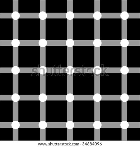 Optical art grid in black and grey with white dots